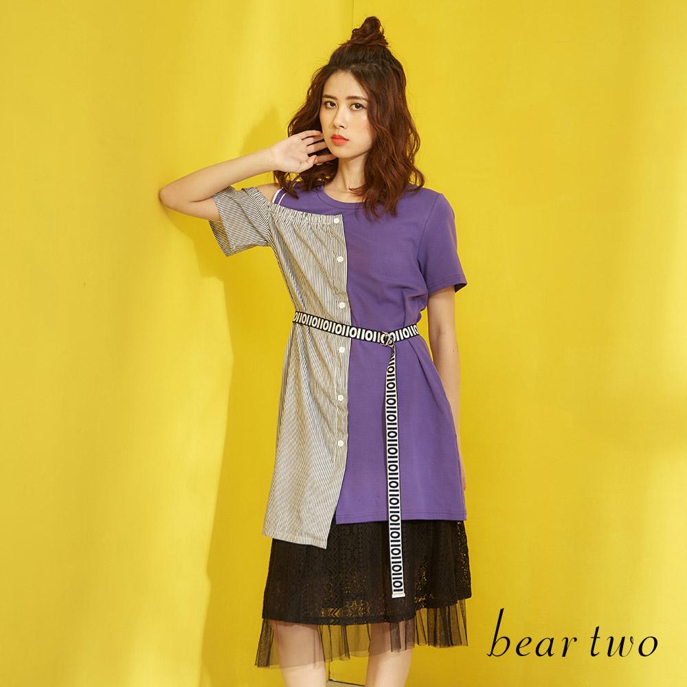 beartwo 浪漫時尚拼接露肩長版上衣(二色)