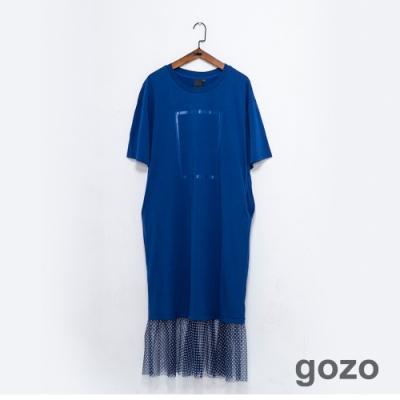 gozo 幾何框線印花網紗拼接洋裝(藍色)