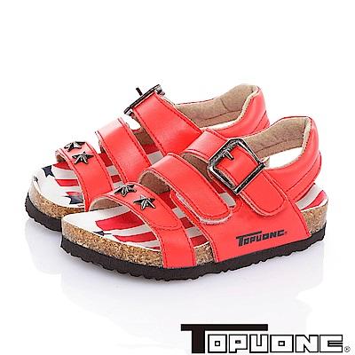 TOPUONE 美國風腳床型減壓吸震休閒涼鞋童鞋-紅