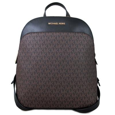 MICHAEL KORS Emmy 金字滿版Logo拼接防刮皮革雙肩後背包(咖啡滿版)