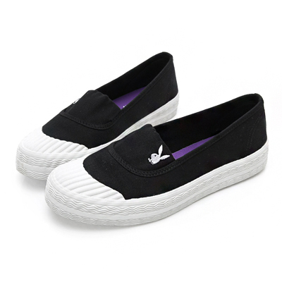 PLAYBOY 簡約丹寧帆布餅乾鞋-黑-Y5208CC