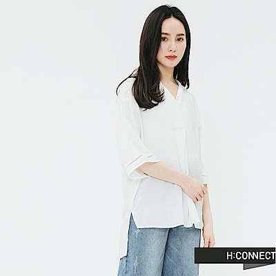 H:CONNECT 韓國品牌 女裝-袖口設計V領襯衫-白