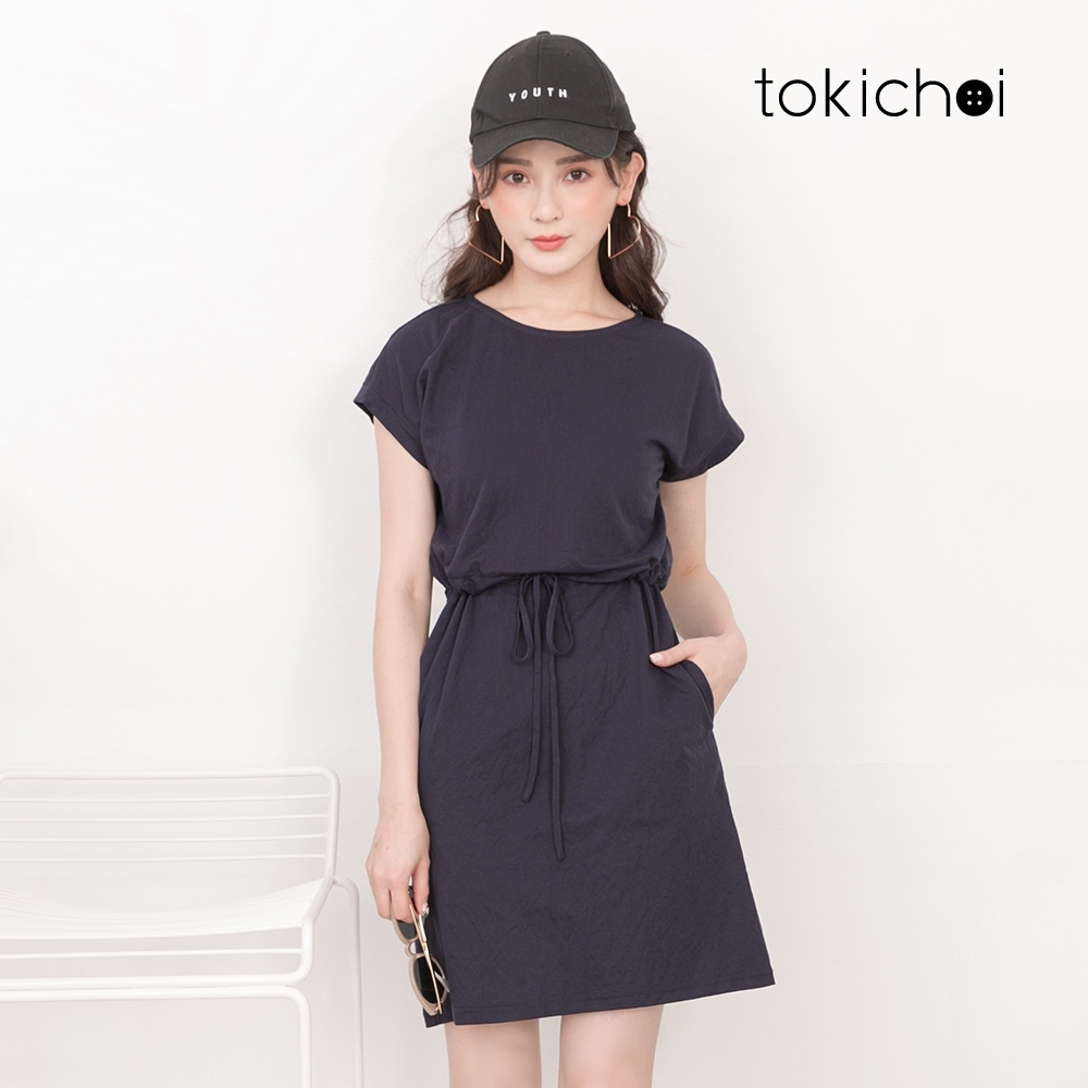 東京著衣 休閒舒適落肩抽繩設計洋裝-S.M.L.XL.XXL