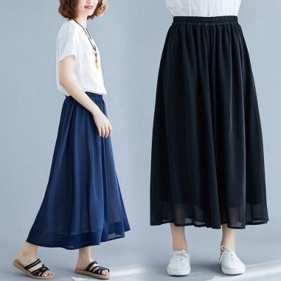 百搭彈性鬆緊純色輕柔雪紡寬褲裙L-XL共三色-Keer