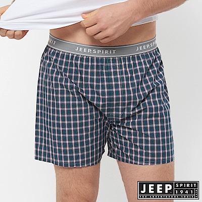JEEP 五片式剪裁 純棉平口褲-綠色小格紋
