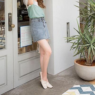 高含棉裝飾拉鍊排釦雙腰頭牛仔短裙(褲型內裡)-OB嚴選