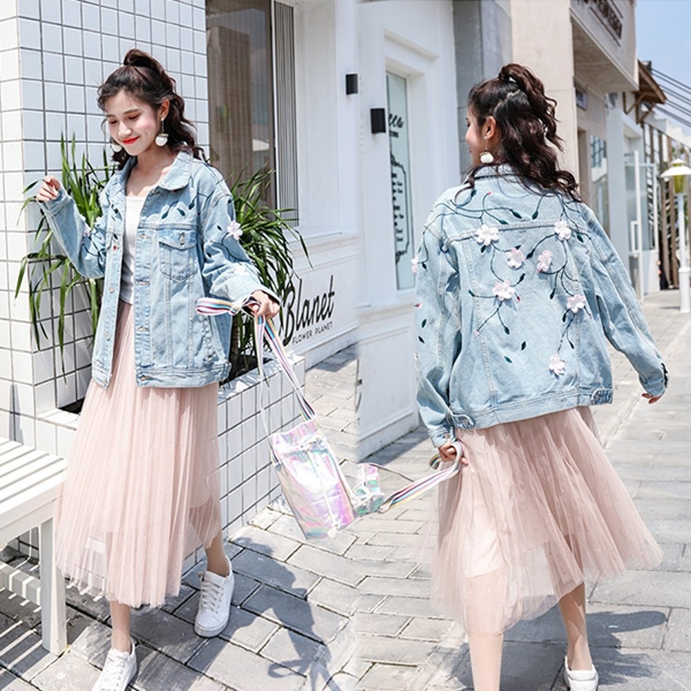 【韓國K.W.】名媛風刺繡牛仔典藏外套-1色
