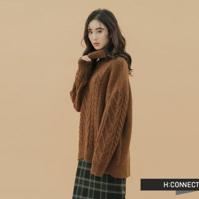 H:CONNECT 韓國品牌 女裝 - 高領麻花針織上衣 - 棕
