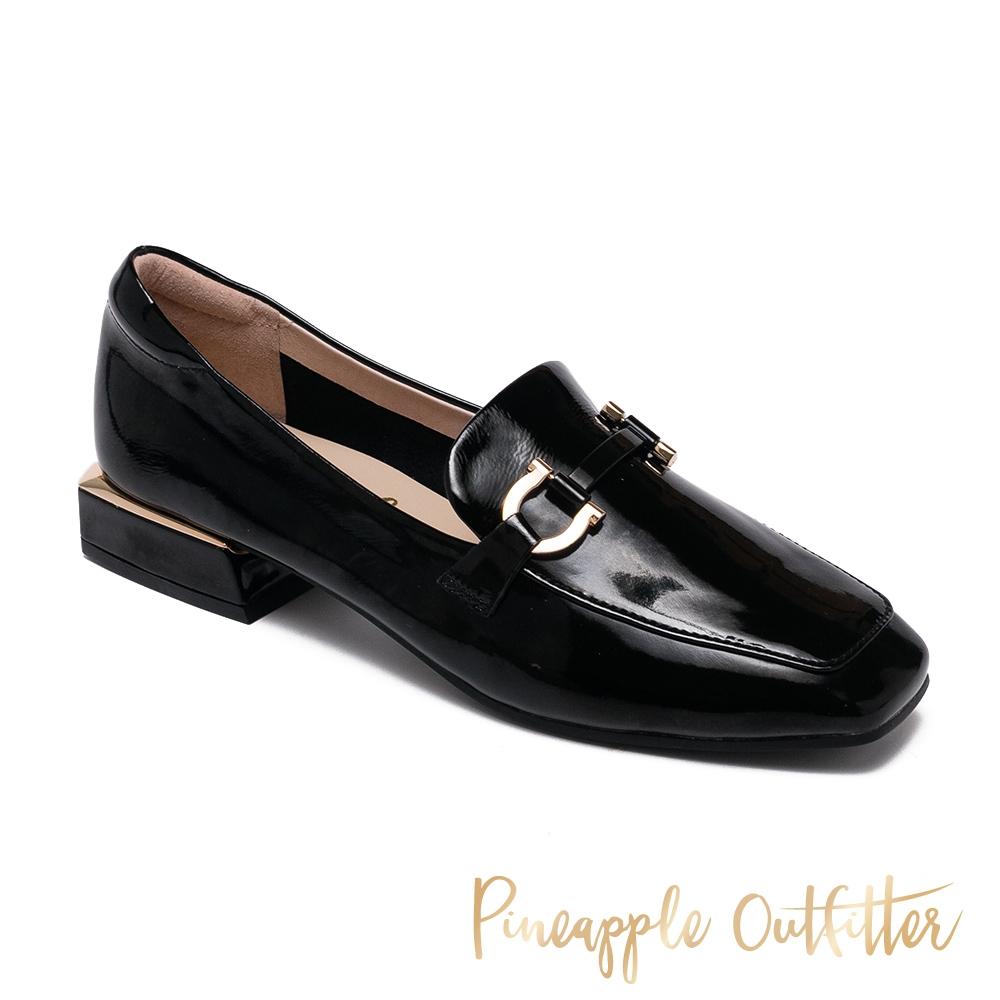 Pineapple Outfitter-EDITH 真皮金屬釦方頭低跟穆勒鞋-鏡黑
