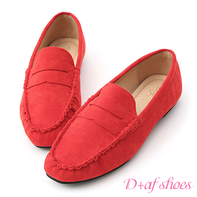 D+AF 自在輕著.經典款絨料平底樂福鞋*紅