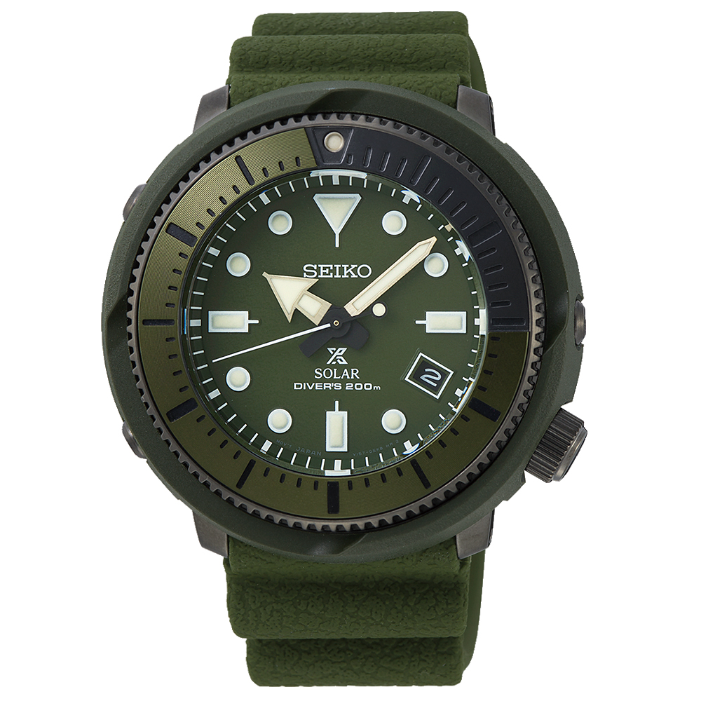 SEIKO精工Prospex太陽能200米潛水手錶SNE535P1-綠/46mm