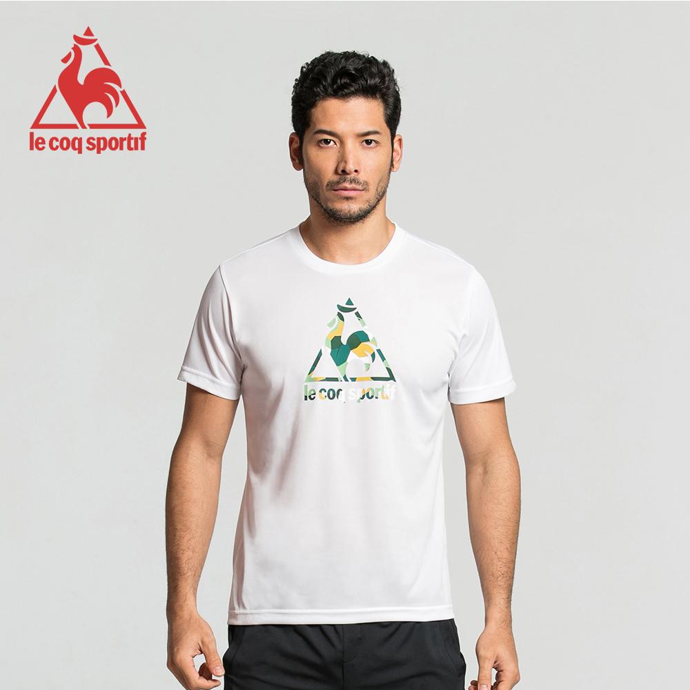 le coq sportif 法國公雞牌馬賽克LOGO吸汗速乾短袖T恤 男-白