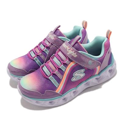 Skechers 休閒鞋 S Lights Heart Lights 童鞋 燈鞋 五彩閃燈 愛心 魔鬼氈 中童 紫 彩 302308-LPRMT