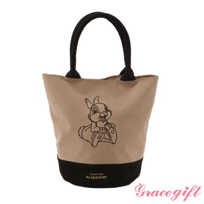 Disney collection by gracegift桑普兔電繡圓筒手提袋 棕