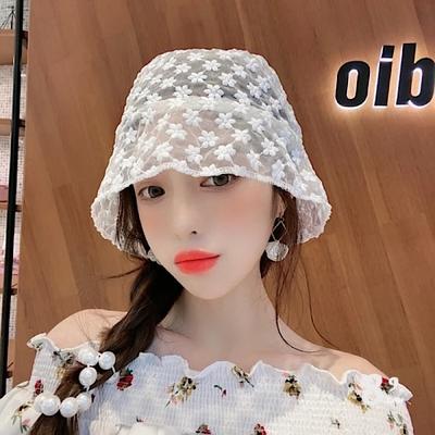 【89 zone】法式薄款花朵鏤空蕾絲漁夫防風/遮陽帽(小花白色)