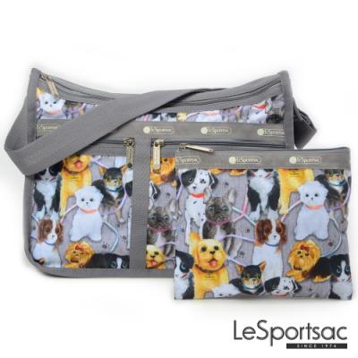 LeSportsac - Standard雙口袋A4大書包-附化妝包 (小狗聚會)