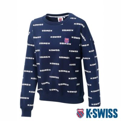 K-SWISS Allover Print Sweat圓領長袖上衣-女-深藍