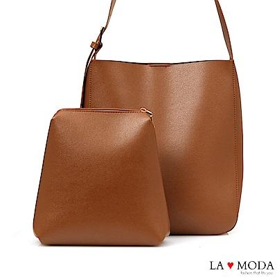 La Moda 質感超熱銷大容量肩背斜背子母包(棕)