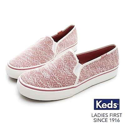 Keds DOUBLE DECKER 織紋布面休閒便鞋-紅色