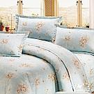 BUTTERFLY-台製40支紗純棉加高30cm薄式單人床包+單人鋪棉兩用被-心花朵朵-綠