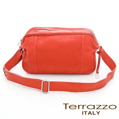義大利Terrazzo - 水洗羊皮個性斜背包-橘色 17I4471A10904
