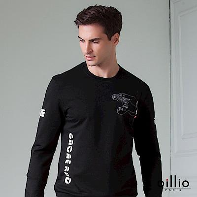 歐洲貴族 oillio 長袖T恤 文字印花 虎型圖騰 黑色