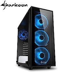 Sharkoon 旋剛 炫彩者 藍 鋼化玻璃透側 ATX 電腦機殼