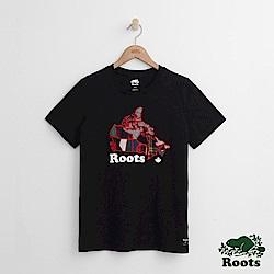 Roots -女裝- 彩格加拿大短袖T恤 - 黑