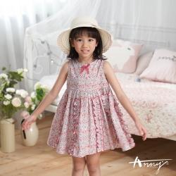 Annys安妮公主-中小童夏日花田純棉舒適荷葉邊無袖洋裝*0304紅