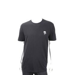 KARL LAGERFELD K/IKONIK Q版老佛爺黑色棉質T恤(男款)