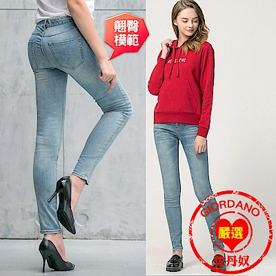 GIORDANO 女裝基本款彈力貼身窄管牛仔褲 - 77 淺藍色