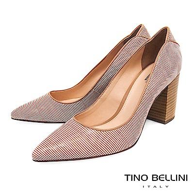 Tino Bellini 巴西進口蛇紋佐雙色條紋尖頭跟鞋 _ 奶茶色
