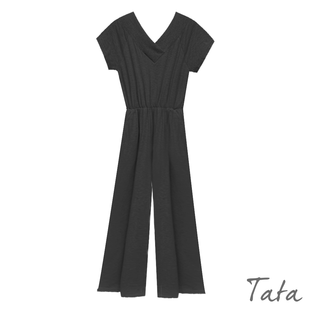 交錯V領鬆緊收腰連身褲 共二色 TATA-F product image 1