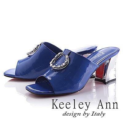 Keeley Ann 天使光環~極淨色彩水鑽圓飾真皮粗中跟拖鞋(藍色-Ann)