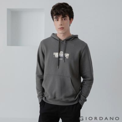 GIORDANO 男裝CHECKS連帽T恤 - 12 青銅灰