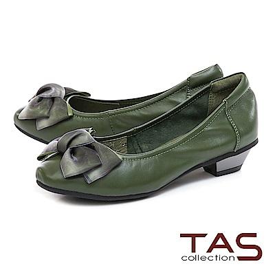 TAS 抓皺蝴蝶結素面羊皮娃娃粗跟鞋-抹茶綠