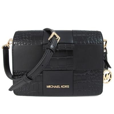 MICHAEL KORS Mercer 金字Logo雙款皮革編織掀蓋空姐斜背包(黑色)