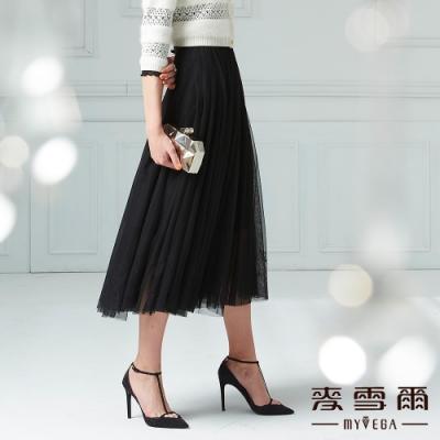 【麥雪爾】樹葉刺繡彈性腰身蕾絲長裙