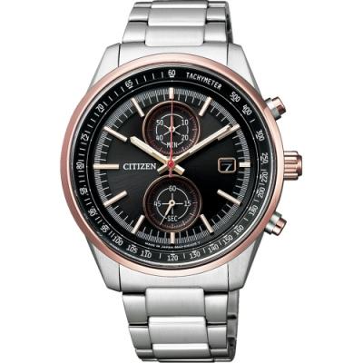 CITIZEN 星辰 光動能限量紳士計時手錶-黑x玫瑰金圈/41mm CA7034-61E