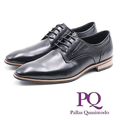 PQ 素面綁帶木紋德比鞋 男鞋- 黑