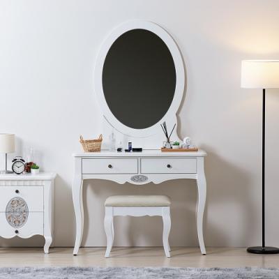 D&T 德泰傢俱 新古典 潔白3.3尺化妝台(含椅) -100x45.5x176cm