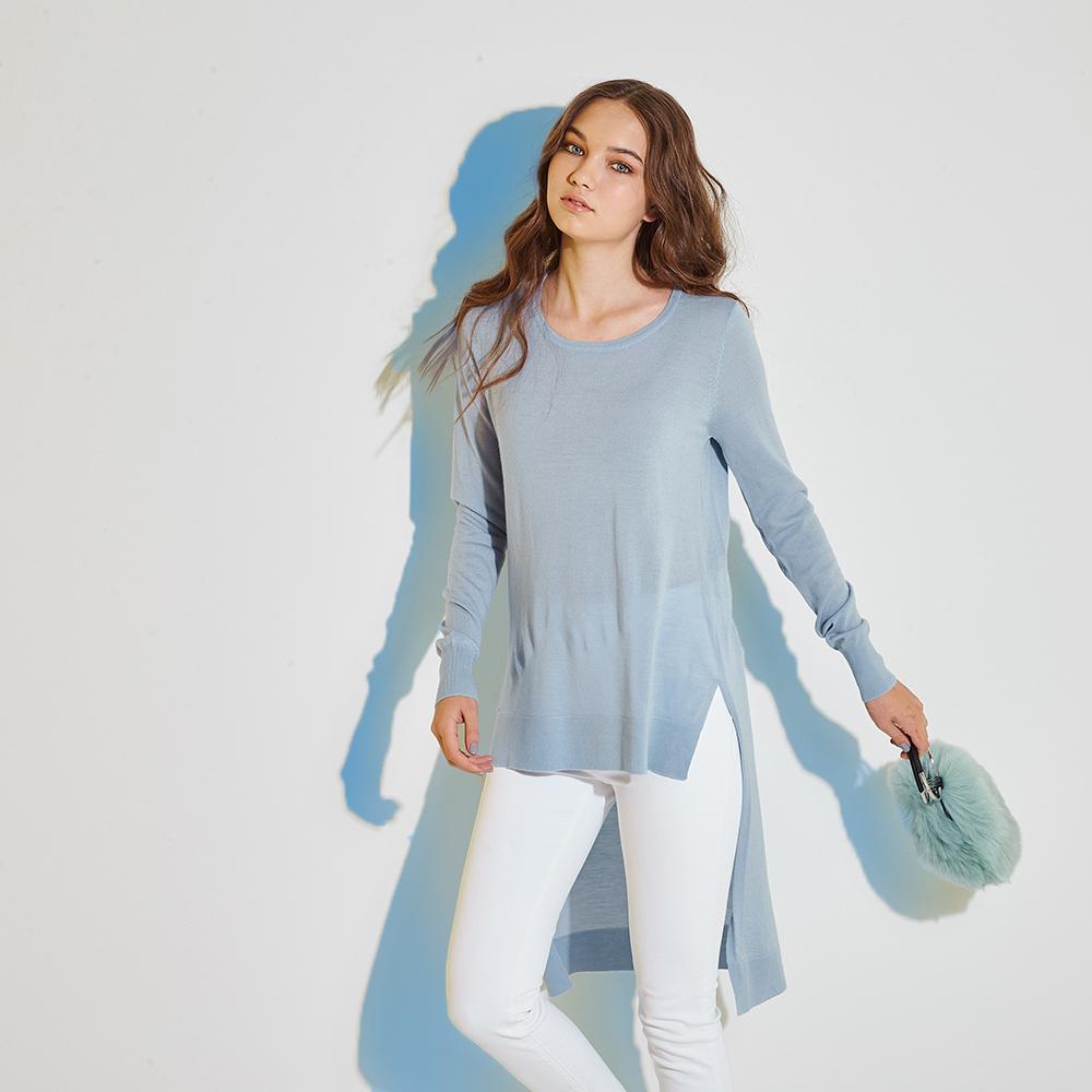 ICHE 衣哲 100%美麗諾羊毛前短後長針織長版造型上衣(兩色)-藍