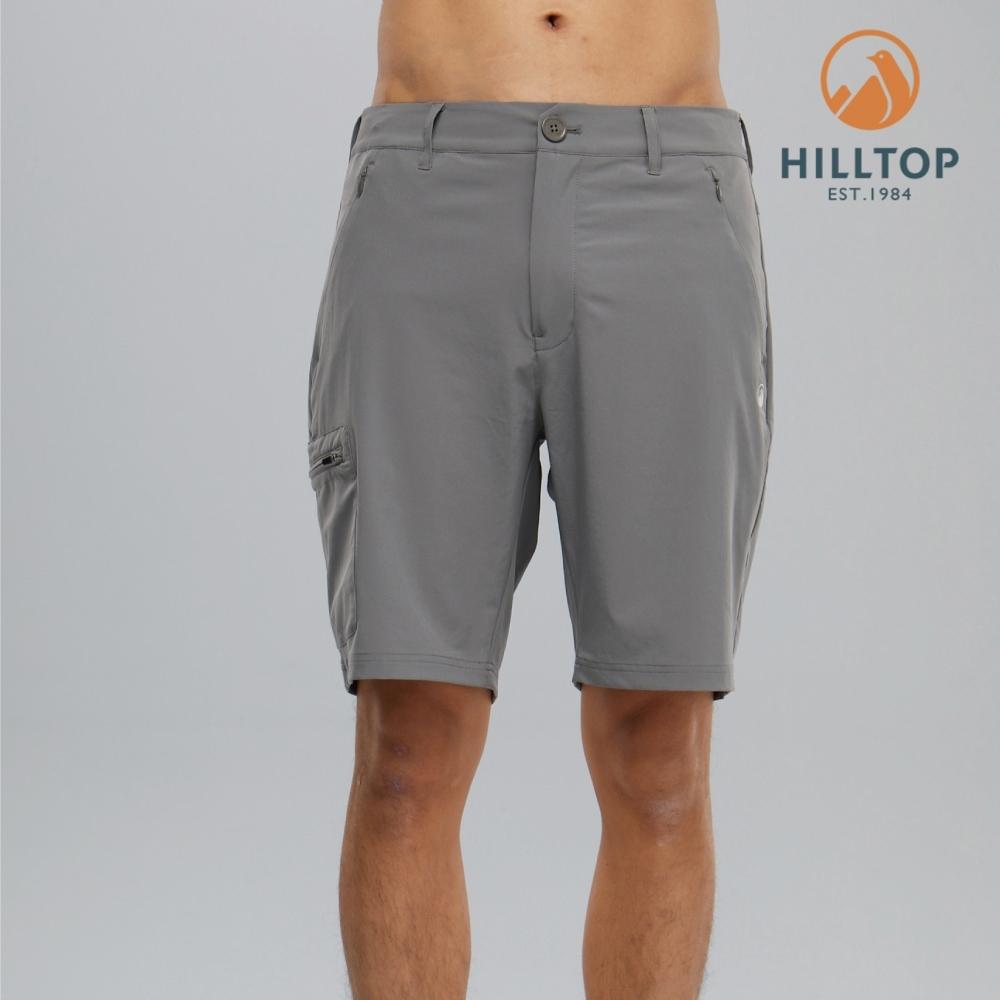 【hilltop山頂鳥】男款超潑水抗UV彈性短褲S09M76瓷器灰