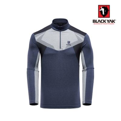【BLACK YAK】男異材質拼接長袖半開襟上衣 [海軍藍]