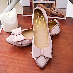 KEITH-WILL時尚鞋館 甜美優雅蝴蝶結造型平底鞋-粉色