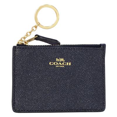 COACH珠光午夜藍防刮皮革後卡夾鑰匙零錢包