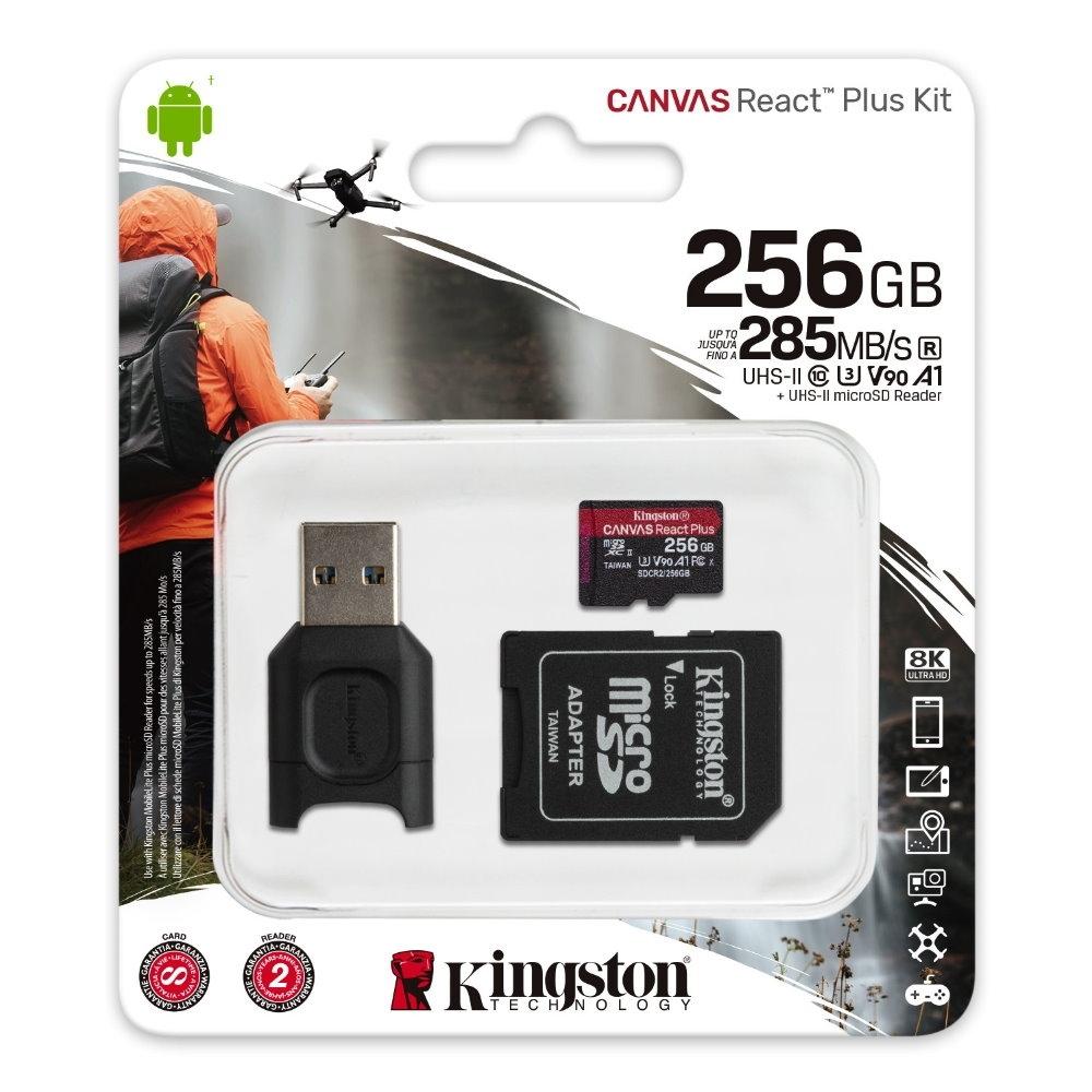 金士頓 MLPMR2 MicroSDXC 285MB UHS-II 256G CANVAS React Plus Kit 記憶卡+讀卡機