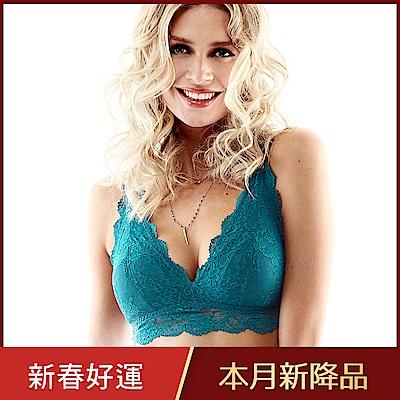 黛安芬-性感無鋼圈V型薄襯蕾絲内衣 C-D罩杯內衣 珊瑚藍