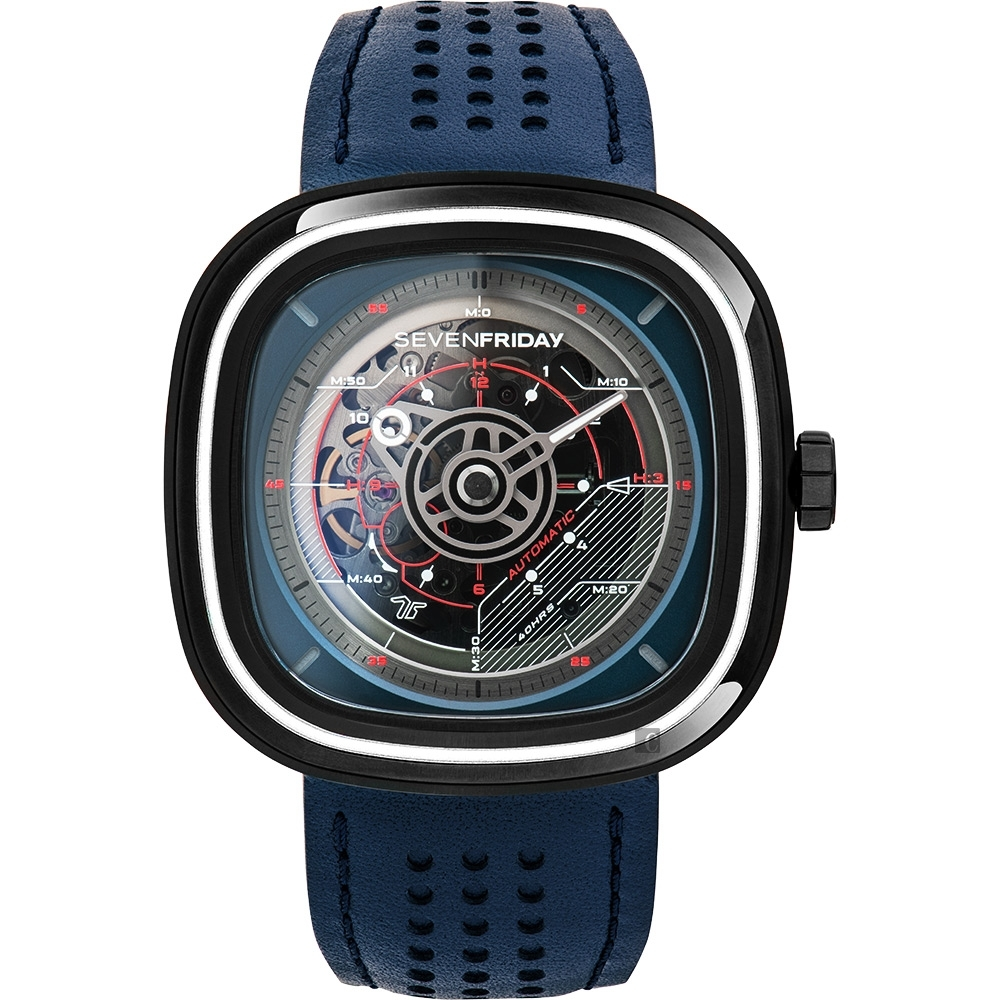 SEVENFRIDAY T3 特殊漸層自動上鍊機械錶-藍/45mm