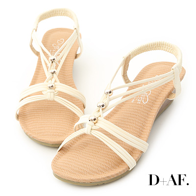 D+AF 溫柔夏風.交叉編織帶串珠楔型涼鞋*米